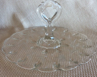 Antique Depression glass Elegant and vintage Indiana glass sandwich or cake plate with handle