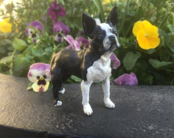 Handpainted Boston Terrier Dog Sculpture