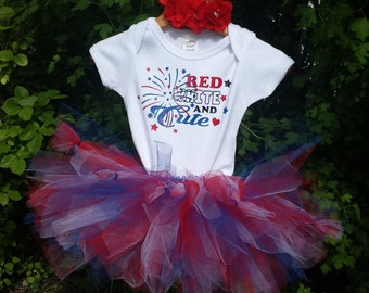 4th of July onsie. Red White and Cute, Red Headband and barefoot sandals. Patriotic, July fourth tutu, America, USA 4th of July tutu