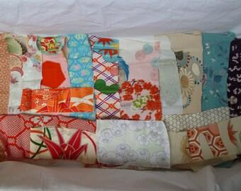 Assorted antique/vintage Kimono fabrics (small pieces) 100g - no.10
