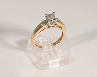 14k Yellow Gold Princess Cut Invisible Mounted four stone engagement Ring H color SI 0.5 ct. tw., Size 5.25