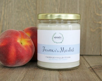 Farmer's Market Candle | Peach Nectar Scented Soy Candle | 8 oz Soy Candle | Charleston SC Inspired Candles