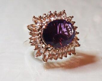 1980s, 925 Silver, Amethyst Dress Ring (1826)