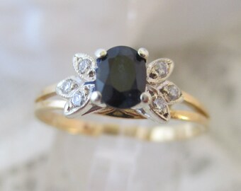 ON HOLD for KATERYN  Eye-catching vintage retro blue sapphire & diamond ring  18ct gold