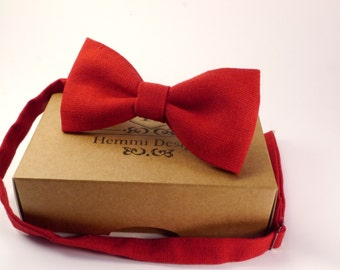 Linen Red Bow Tie For Wedding / Groomsmen Red BowTie