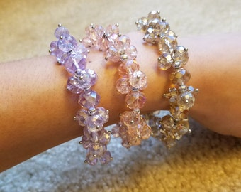 Clear Crystal Multi-Face Beads Bracelets