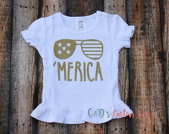 Merica Shirt - Girls 4th Of July Shirt - 4th Of July Merica Shirt - 4th Of July Shirt - Patriotic Shirt - Red White And Blue Shirt - Glitter