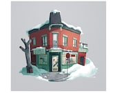 Montreal Depanneur, Digital Art Print, corner Store, bodega, cityscape, urban art, city scene, urban wall art, city decor, illustration
