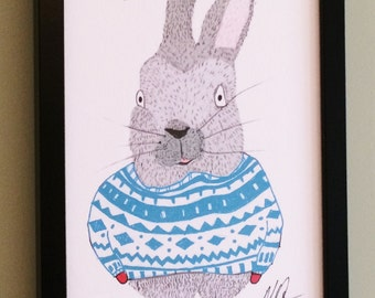 Rabbit, Wearing a Jumper and Mittens, Snazzimals, Animal Prints, Animals Who Wear Clothes