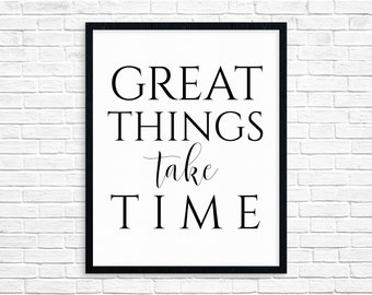 Office Printable Wall Art Great Things Take Time Motivational Print Inspirational Quote Poster Large Wall Art Square Print Instant Download