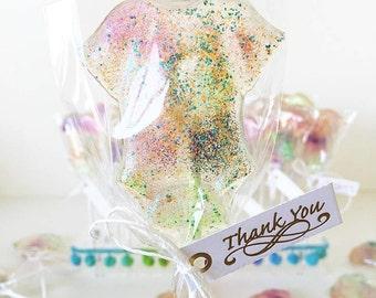 rainbow glitter lollipop onesie favour candy  for babyshower or birthday