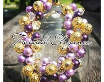 LILA Handmade Glass Purple Pearl and Crystal and Gold Charm Bracelet Handmade By TWISTED ELEGANCE Free Shipping Worldwide