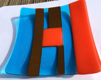 Blue, orange  and brown fused glass bowl