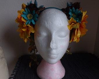 Flower Fairy Headdress orange/turquoise