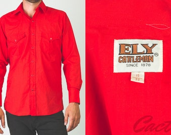 Vintage 1970's Ely Cattleman red western long sleeve button-up // mens // large cowboy shirt
