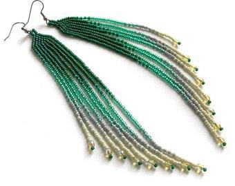Extra long earrings Long beaded earrings Seed bead earrings Green dangle earrings Boho beaded earrings Bead fringe earrings Bohemian jewelry