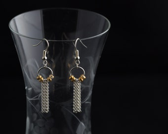 Gold and Silver Chain Earrings