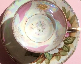 Pretty in Pink Pedestal Teacup and Saucer Japan