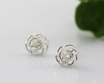 sterling silver rose stud earrings, rose earrings, rose, rose flower earrings, rose flower stud earrings, wired rose earrings