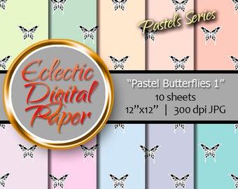 Digital Paper Butterflies, Digital Paper Pastels, Butterfly Digital Paper, Spring Digital Paper Pack, Butterfly Digital Paper Bundle