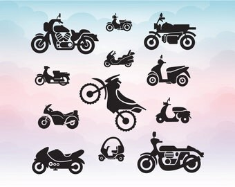 Motorcycle clipart icon monograms Cutting File Set in Svg, Eps, Dxf, Illustrator, Png for Cricut space and Silhouette