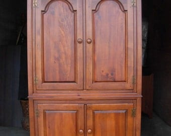 Rare Vintage Armoire / Dixie Furniture / USA Made / Cherry Finish over Solid Pine