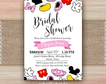 Disney Bridal Shower Invitation Printable - Disney Engagement Party Invitations - Disney Wedding Party Invites 009