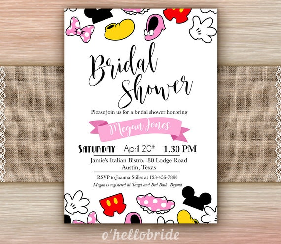 Disney Bridal Shower Invitation Printable Disney Engagement