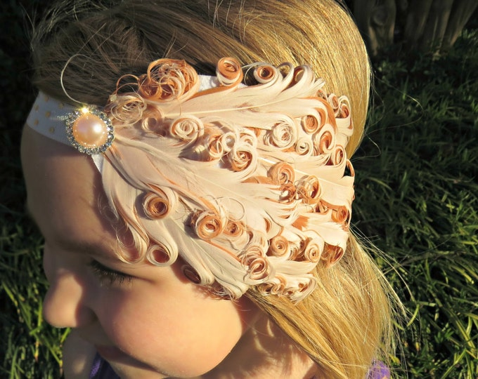 Vintage Ivory Feather Headband, Feather Headband, Beige Headband, Baby Headband, Baby Shower Gifts, Gifts For Girls