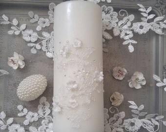 1x lace candle..wedding decoration / sofreh aghd
