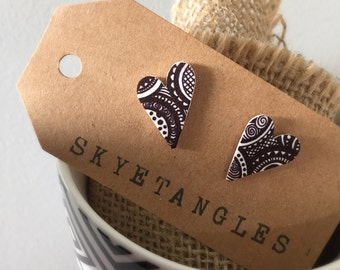 Hand drawn Black and White patterend earrings