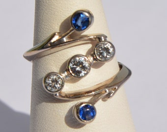 Beautiful 3-0 diamond platinum ring, 29CT - 0 Sapphire, 2 CT / Platinum ring 3 Beautiful Diamonds 0,29 CT - 0 Saphhire, 2 CT