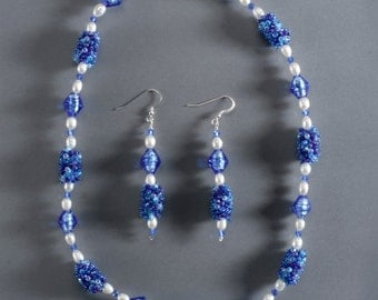 Blue and pearl necklace & earrings