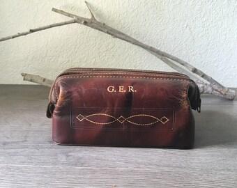 Vintage Brown Cowhide Dopp kit  Mens Shaving Bag Hickok Travel Case Luggage