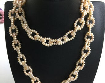 Pearl links necklace tiny white black pearl