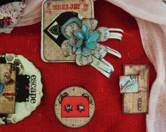 Four (4)  piece hand made embellishment set. Tim Holtz inspired.  Scrapbooking, journaling, card-making, DIY, crafts, gifts, and more