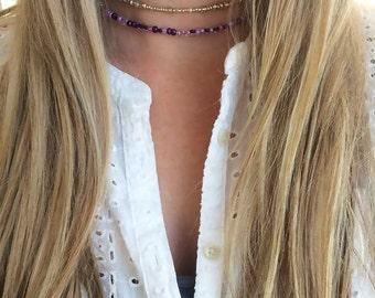 Purple beaded choker, purple choker, purple seed bead choker necklace, lilac purple choker necklace, delicate purple choker necklace