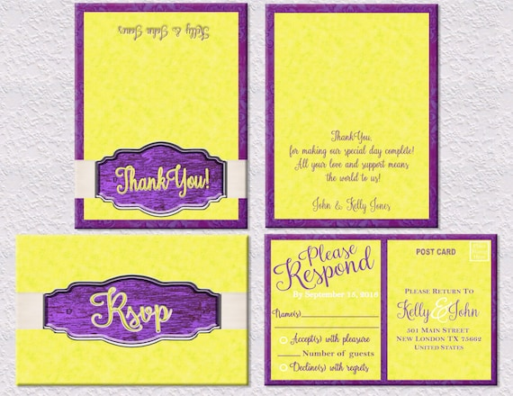 Purple And Yellow Wedding Invitation RSVP Thank You Cards