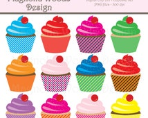 Cupcake Clip Art, Cupcake Images, Birthday Clip Art, Dessert Clip Art, Bakery Clip Art, Cupcake Digital Image, Small Commercial Use Clip Art