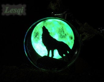 Glowing wolf necklace,Stainless steel glow full moon pendant necklace,Glow in the dark