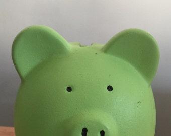 Vintage little mint green seafoam piggy bank ceramic coin bank nursery room decor pig lover collectible piggy bank
