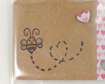 carved bees stamp with heart for scrapbooking, card making and decorating, love, bee