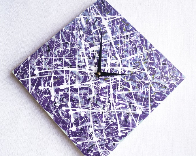 Wall Clock Purple , Trending, Minimalist Wall Clock, Unique Wall Clock, abstract acrylics