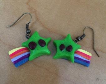 Green Mario-Style Shooting Star Earrings