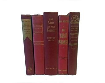 Red Decorative Books, Crimson Vintage Book Stack, Book Set Decor, Interior Decoration, Shabby Chic Decor, Rustic Decorative Books