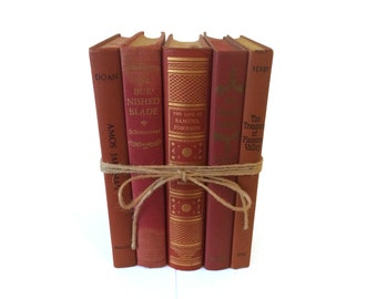Orange Decorative Books, Vintage Book Decor, Shabby Chic Decorations, Rustic Decorations, Bookshelf Decor, Photography Prop