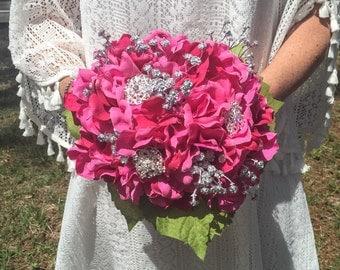 Pink & Silver Hydrangea Crystal Brooch Bouquet