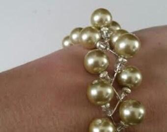 """Champagne """"pearl"""" zig zag bracelet"""