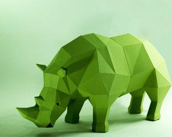 Rhino model, Rhino Sculpture , Animal paper, Rhinoceros paper ,Rhino low poly, papercraft, papermodel