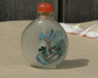 Antique Chinese Snuff Bottle Reverse Hand Painted Glass Vintage Chinese interior painted glass inside painting glass bottle Collectibles